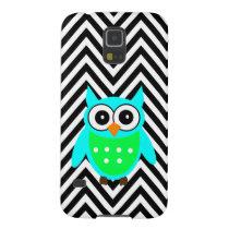 Blue Green Cute Owl Black Chevron Pattern Galaxy S5 Cover
