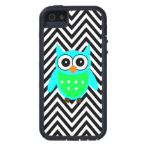 Blue Green Cute Owl Black Chevron Pattern iPhone SE/5/5s Case