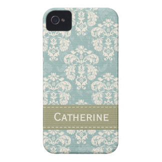 Blue Green Damask BlackBerry Bold Case Mate Cover