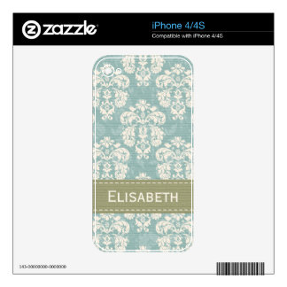 Blue Green Damask iPhone 4 / 4s Skin Skins For The iPhone 4