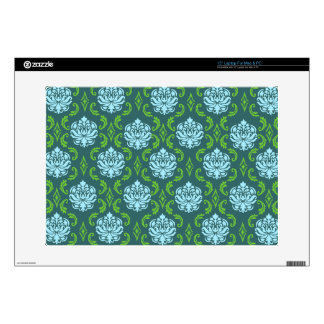 Blue Green Damask laptop skin / cover