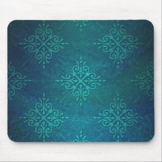 Blue Green Damask Pattern Mousepads