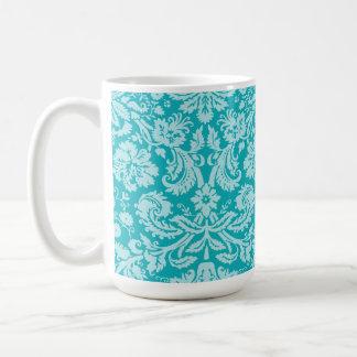 Blue-Green Damask Pattern Classic White Coffee Mug