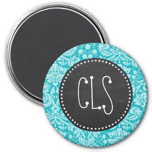 Blue-Green Damask Pattern; Retro Chalkboard 3 Inch Round Magnet