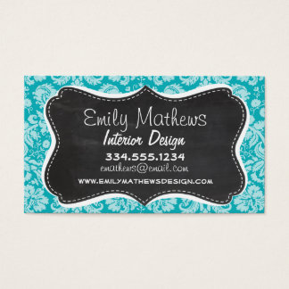 Blue-Green Damask Pattern; Retro Chalkboard Business Card