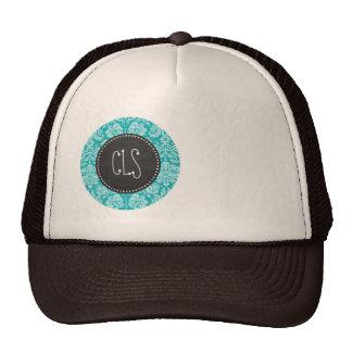 Blue-Green Damask Pattern; Retro Chalkboard Trucker Hat