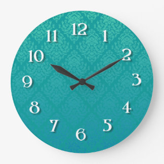 Blue-Green  Damask Wall Clocks