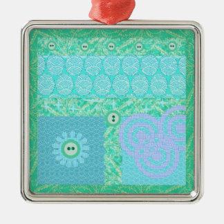 Blue Green Decorative Scrapbook Patchwork Metal Ornament