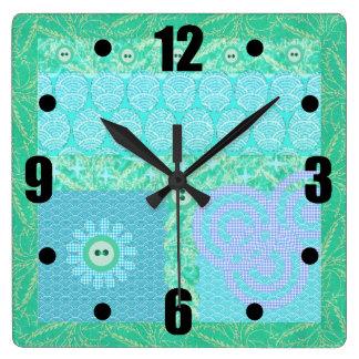 Blue Green Decorative Scrapbook Patchwork Square Wall Clock