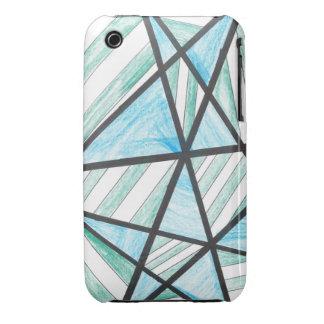 Blue Green Diagonal Stripes iPhone 3 Case
