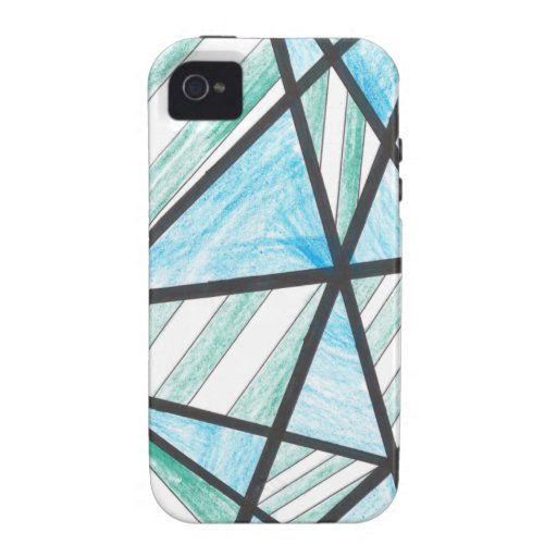 Blue Green Diagonal Stripes iPhone 4 Case