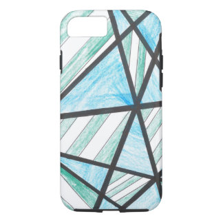 Blue Green Diagonal Stripes iPhone 7 case