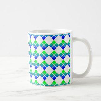 Blue Green Diamond 4 Square design mug