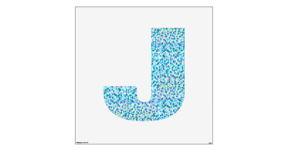 Blue green diamond wall decal letter j large zazzle for Large letter j for wall