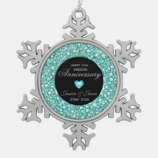 Blue-Green Diamonds Glitter 10th Anniversary Snowflake Pewter Christmas Ornament