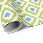 Blue Green Diamonds Ikat Pattern Gift Wrapping Paper