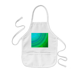Blue Green Distort Abstract Kids Apron