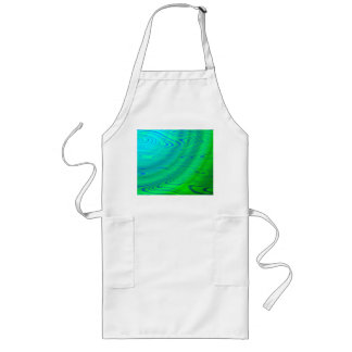 Blue Green Distort Abstract Long Apron
