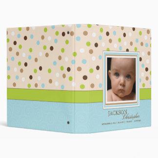 Blue + Green Dot Baby Boy Photo Album Binders