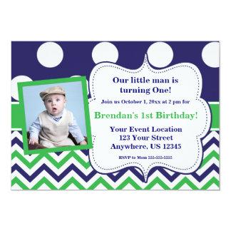 "Blue Green Dots Chevron Photo Birthday Invitation 5"" X 7"" Invitation Card"