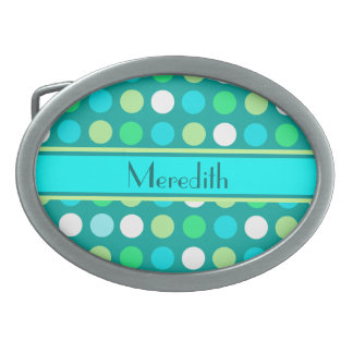 Blue & Green Dots+Personalize Name Belt Buckle