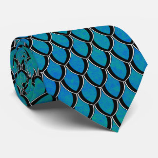 Blue Green Dragon Scale Tie