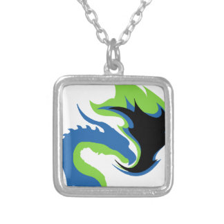 Blue Green Dragon Silver Plated Necklace