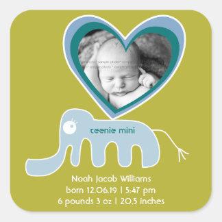 Blue Green Elephant Baby Boy Birth Announcement Square Sticker