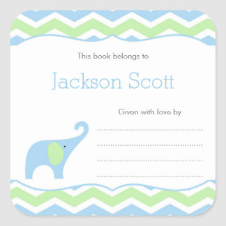 Blue Green Elephant Baby Shower Bookplate, boy Square Sticker
