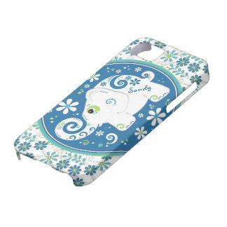 Blue Green Elephant Floral iPhone 5 Case-Mate Case