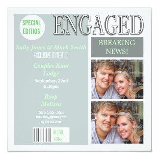 Blue green engagement magazine PERSONALIZE Custom Invitation