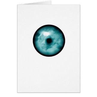 Blue Green eye cloud graphic aqua Greeting Cards