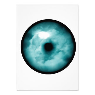 Blue Green eye cloud graphic aqua Personalized Invitation