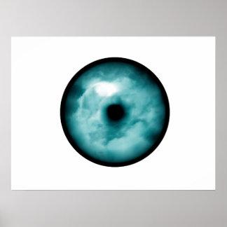 Blue Green eye cloud graphic aqua Print