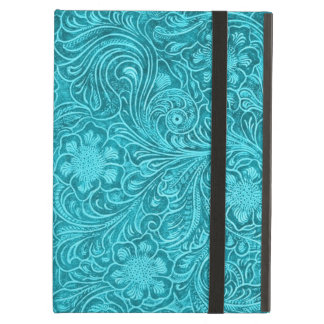 Blue-Green Fake Leather Look Retro Floral Design Cover For iPad Air