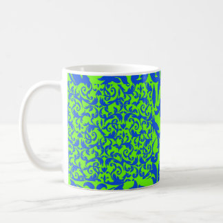 Blue & Green Fancy Damask Pattern Coffee Mug