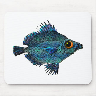 Blue Green Fantasy Discus Fish Mouse Pad
