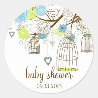 Blue & Green Floral Birdcages Baby Shower Sticker