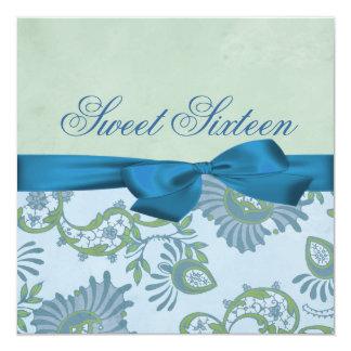 Blue & Green Floral Bow Birthday Invitation