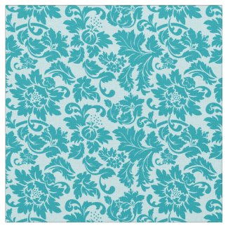 Blue Green Floral Damask Pattern