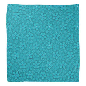 Blue-green floral design bandana