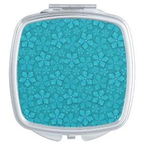 Blue green floral design compact mirror