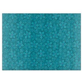 Blue-green floral design cutting board