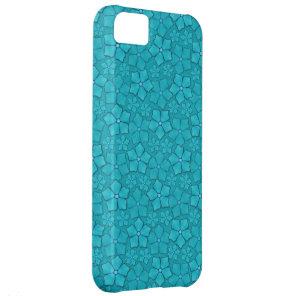 Blue-green floral design iPhone 5C case