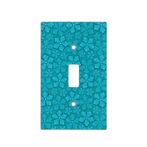Blue-green floral design light switch cover