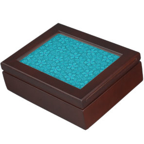 Blue green floral design memory box