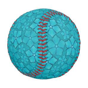 Blue green floral design Monogram Initials Baseball