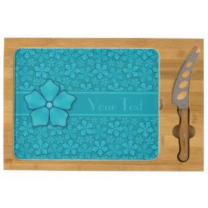 Blue green floral design Monogram Initials Cheese Platter