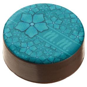 Blue green floral design Monogram Initials Chocolate Dipped Oreo