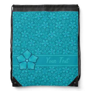 Blue green floral design Monogram Initials Drawstring Bag